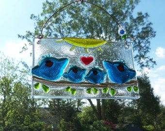 Blue Birds of Happiness Fused ARt Glass Suncatcher // Family // TeaL BLue // Sun Catcher // Sunshine // Fused GLass Birds // Cheerful // Fun