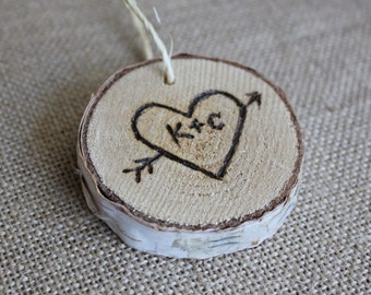 Personalized Christmas Ornament, Custom Wood Burned Ornament, Birch Wood Slice Gift Tag, Rustic Christmas Decorations, Unique Gift Ideas