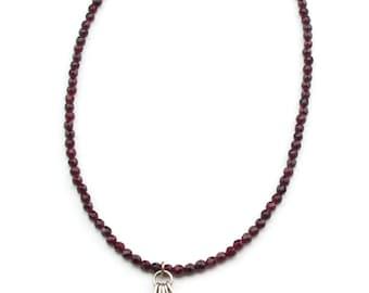 Indian Garnet Fan  Necklace