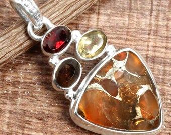 Copper Carnelian Gemstone Handmade 925 Sterling Silver Pendant