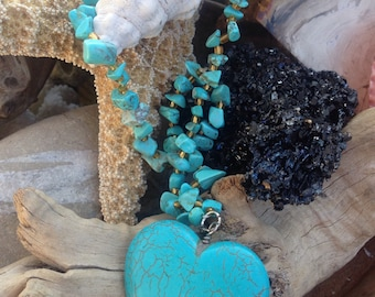 Turquoise heart necklace – Statement Necklace - gift for mother – gift for girlfriend – heart necklace