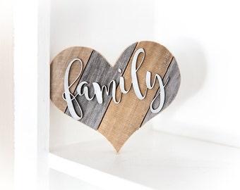 Rustic Home Decor, Family Sign, Wood Heart, Rustic Wall Decor, Farmhouse Decor, Kitchen Decor, Housewarming Gift, Love Sign, Country Decor