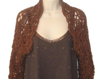 Brown Shrug, Brown Bolero, Elegant Shrug, Womens Plus Size, Plus Size Shrug,Trendy Plus Size, Long Sleeve Shrug, Plus Size Clothing,