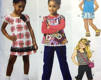 Butterick B5776 Girls' Dress, Top, Shorts, Pants, Bag Pattern, Toddler Girls' Pattern, Size 2-5, Uncut