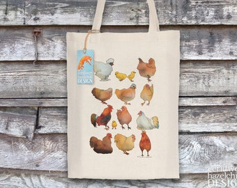 Chickens Tote Bag, Reusable Shopper Bag, Ethically Produced Shopping Bag, Cotton Tote, Shopping Bag, Eco Tote Bag, Stocking Filler