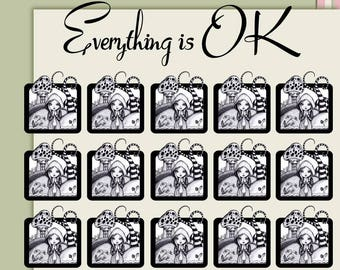 Planner stickers journal stickers black and white stickers EMO stickers big eye art stickers