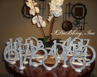 Bling Crystal Rhinestone Wedding Reception Birthday Party Table Numbers 1-10