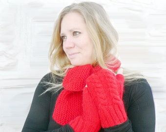 Red hand knitted Scarf with Fingerless Gloves Mittens