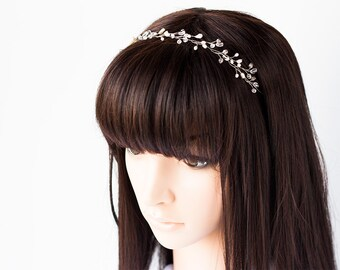 12_Wedding headband, Silver headband, Pearl crown, Crystal crown, Wire hair accessories, Narrow circlet of pearls, Pearl head piece Headband