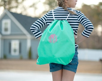 Mint Monogrammed Gym Bag, Monogram Backpack, Back to School