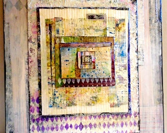 16x20 Wall Art Mixed Media Collage BoHo Style With Peace Sign - Wht/Grey/Pink/LtBL 1.5 IN. Gallery Wide Cradled BirchWood Back Ready to Hang