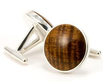 Custom Cufflinks, Wood Hawaiian Koa .925 Sterling Silver OOAK Mens Gift