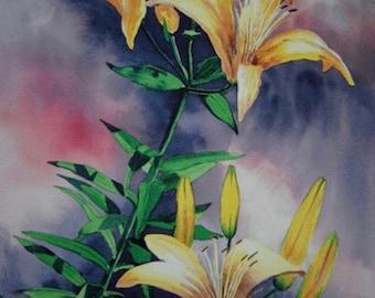 Golden Glow Lilies - Giclee Print