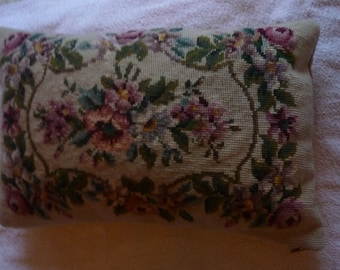 """Tapestry cushion cover and pad measures 17"""" X 11"""" Zip fastener."""