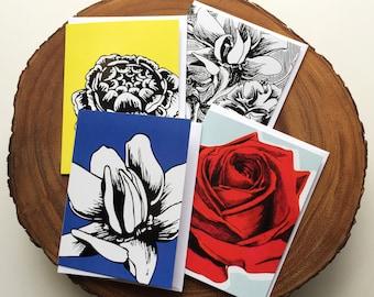 DraInk Flower Card Set of 4 - Blank Cards