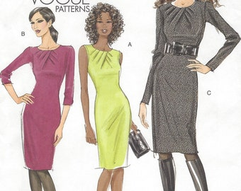 OOP Vogue Sewing Pattern V8593 Womens Fitted Dress with Sleeve Variations Perfect for Office Size 14 16 18 20 Bust 36 38 40 42 FF