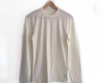 White Mens Merino Wool Long Sleeved Top | Mens Base Layer | Mens Thermal Wool Top | Merino Wool Base Layer