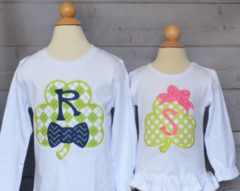 Personalized Shamrock with Bow Applique Shirt or Bodysuit Girl or Boy