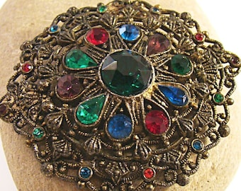 Vintage New England Glass Works Ornate Filigree Multi Color Rhinestone Brooch in Excellent Condition