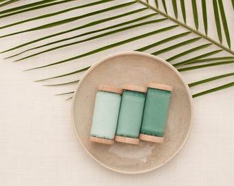 Green silk ribbon set, silk ribbon, hand dyed ribbon, Bouquet ribbon, vintage ribbon, gift wrap, floral wrap, ribbon, hand dyed ribbon