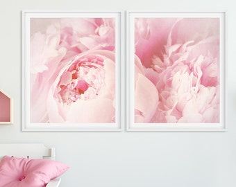 Peony Print, Set of 2 Floral Prints, Peony Wall Art, Flower Photography, Pastel Pink Peony Art, Bedroom Decor, Modern Home Decor, Printable