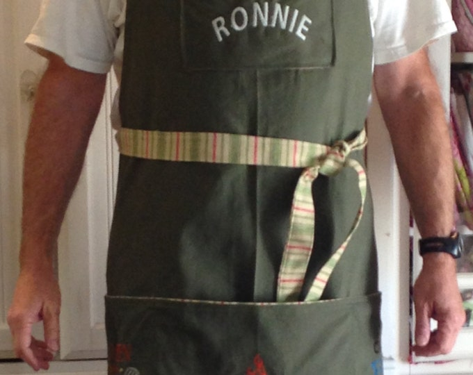 Full BBQ apron embroidered color choice denim canvas twill cream white maroon
