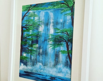 Original Acrylic Painting. Waterfall. Painting Name- Glistening Falls