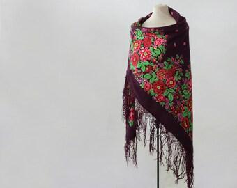 Russian shawl, maroon shawl, hand block printed, wine throw wool, merlot scarf, floral wool throw, autumn shawl, garden party throw blanket