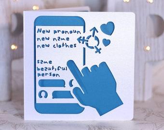 Transitioning card, transgender card, trans support card, transition card, mtf card, ftm card, queer card