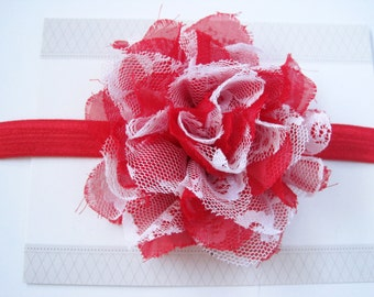 Red White Chiffon Baby Headband, Infant Headbands, Baby Girl Headbands, Infant Bows, Baby Bows, Newborn Headbands