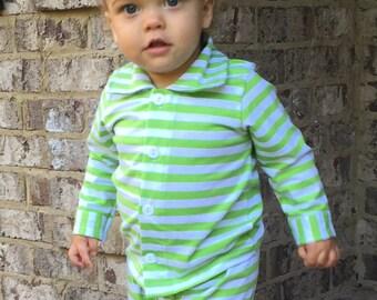 Christmas Pajamas - Green Striped Christmas Pajamas - Ruffled Pajamas - Monogrammed Pajamas - Boys Pajamas - Girls Pajamas