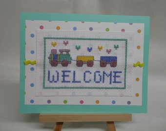 Welcome Baby/Congratulations Cross Stitched Card