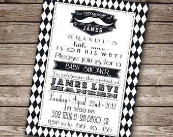 Printable Black and White Baby Shower Invitation- Little Man Mustache