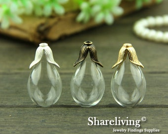 2 set 18x38mm Clear Glass Teardrop Bottle With Flower Cover