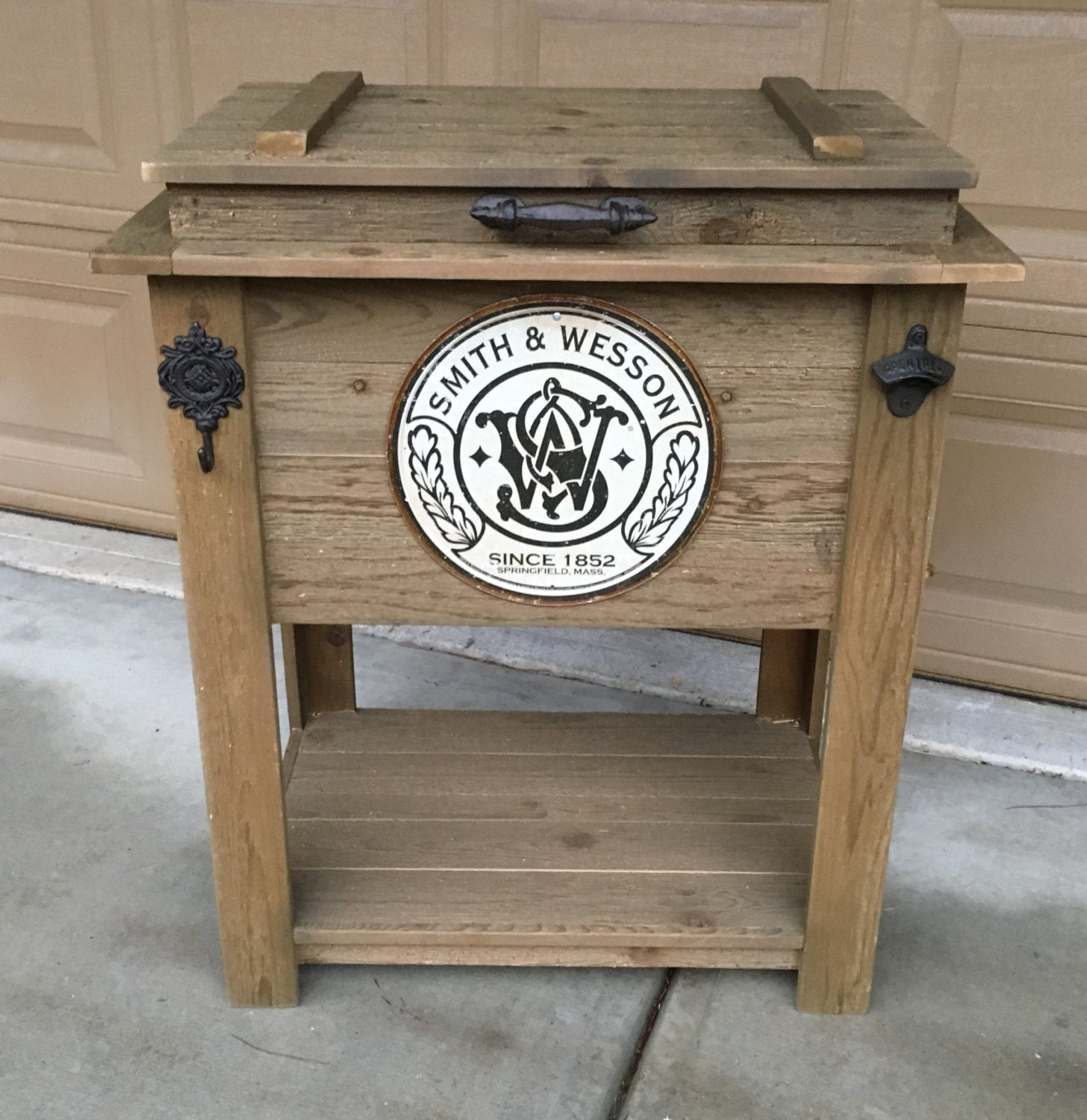 Rustic Wooden Cooler is Great for a Man Cave Outdoor Bar Cart