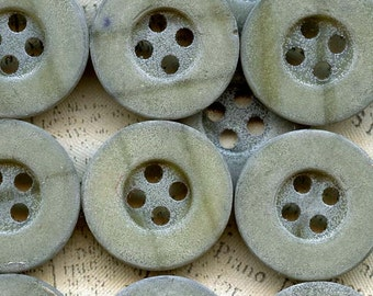 Clearance ~ Destash Lot of 38 Vintage Chalky Shabby Seafoam Green Sewing Buttons ~ 3/4 inch 18mm