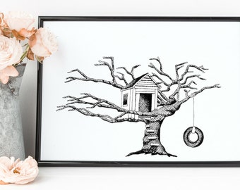 """Treehouse Print   8"""" x 10"""" Illustration   New Homeowner Gift   Nature Art   Signed by Artist"""