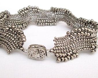 silver seed bead bracelet, OOAK bracelet, art jewely, boho bracelet, beaded bracelet, bead bracelet, beadwork jewelry, beaded jewelry