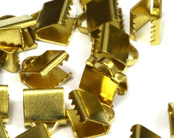 100 pcs 6x9 mm Raw Brass Ribbon Crimp Ends, Raw Brass Ribbon Crimp End, Ribbon Crimp Ends cap,,with loop Findings R232