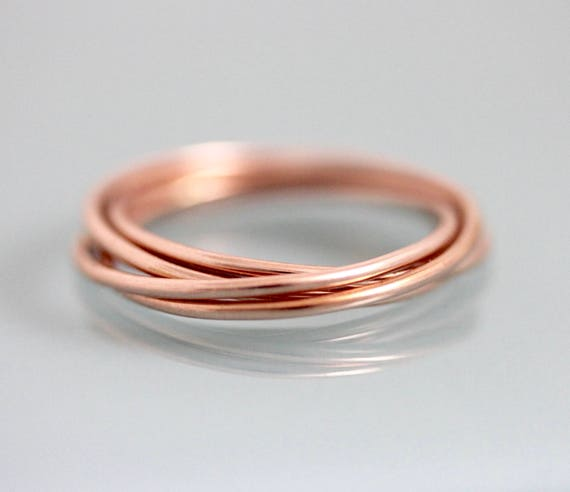 14k Rose Gold Rolling Ring Russian Wedding Band 5 Interlocked