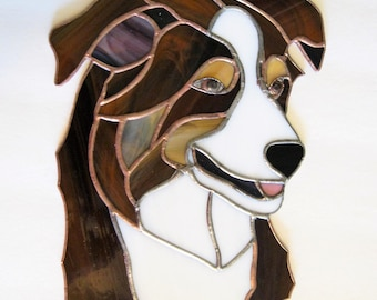 """Custom Made Stained Glass Dog Portrait -8 x 10""""- from your photo- Made to Order"""