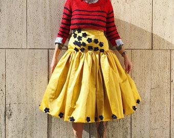 shirred skirt, yellow skirt, vintage skirt