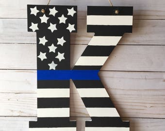 Thin Blue Line Door Hanger - Police Door Hanger - Monogram Door Hanger - Thin Blue Line Decor - Law Enforcement Door Hanger -Door Decoration