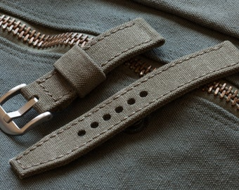 Vintage Olive Drab Military Canvas Watch Strap in 20mm, 22mm, 24mm, 26mm Sizes