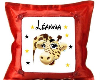 Red giraffe pillow personalized with name