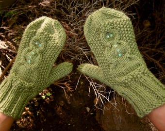 Knit Snowman Mittens with Sequins - Light Green Knitted Vegan Mittens with Snowman Pattern - Green Hand Knit Winter Snowman Mittens