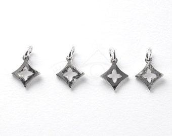 3185042 / Clover / Rhodium Plated Brass Pendant 7.3mm x 8.6mm / 0.3g / 4pcs