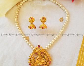 Temple jewelry-imitation jewelry-indian jewelry-metal jewelry-Mahalakshmi pendant-bahubali jewelry
