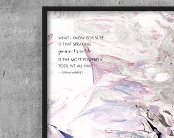 Art Print 8x10 Marble Oprah Winfrey Quote - What I know for Sure, Your Truth, Powerful Tool | Golden Globes | Inspiration