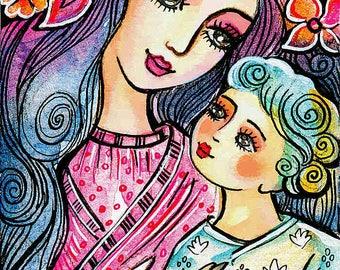 Mother child illustration, folk art, maternity art, mothers love, nursery painting, mother gift, mother son, feminine decor print 8x11+
